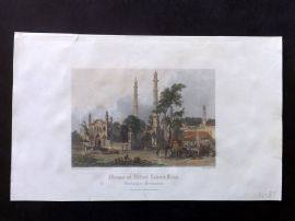 After Warren 1860 Hand Col Print. Mosque of Abdool Raheim Khan, Burhanpur, India